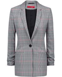 HUGO - Regular-fit Checked Blazer With Ruched Sleeves - Lyst