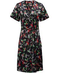 HUGO - Kimono-inspired Wrap Dress With Bird Print - Lyst