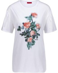 HUGO - Relaxed-fit T-shirt In Pima Cotton With Floral Print - Lyst