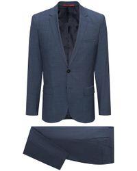 HUGO - Extra-slim-fit Suit In Micro-pattern Virgin Wool - Lyst