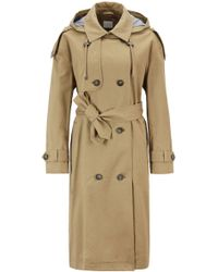 BOSS - Relaxed-fit Trench Coat In Cotton With Detachable Hood - Lyst