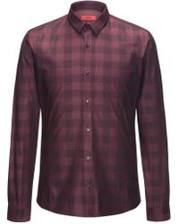 HUGO - Slim-fit Cotton Shirt In A Vichy Check - Lyst