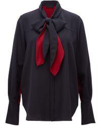 b00a4402bc1593 BOSS - Made In Germany Silk Blouse With Bow-tie Collar - Lyst