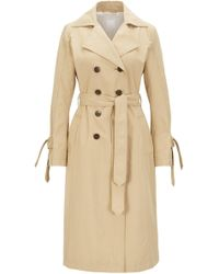 BOSS - Water-repellent Trench Coat With Sleeve Straps - Lyst