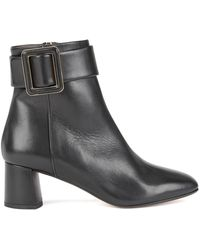 BOSS - Block-heel Leather Ankle Boots With Buckle Detail - Lyst