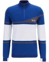 BOSS - Martin Kaymer Colour-block Jumper With Water-repellent Finish - Lyst