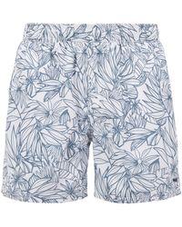 BOSS - Flower-print Swim Shorts With Elasticated Waistband - Lyst