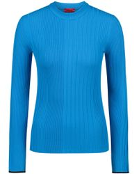 HUGO - Slim-fit Sweater In A Ribbed Knit - Lyst