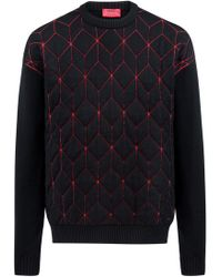 HUGO - Oversized-fit Sweater In Virgin Wool With Geometric Pattern - Lyst