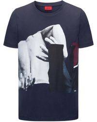 HUGO - Regular-fit Cotton Jersey T-shirt With Abstract Photo Print - Lyst