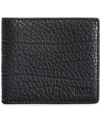 HUGO - Grained Leather Bifold Wallet With Eight Card Slots - Lyst