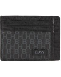 BOSS - Monogram-print Card Holder In Italian Coated Fabric - Lyst