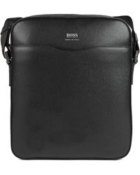 BOSS - Reporter Bag In Grained Palmellato Leather - Lyst