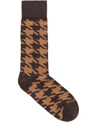 BOSS Patterned Boot Socks In A Cashmere Blend - Brown