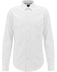 BOSS - Slim-fit Shirt In Fil-coupé Herringbone Cotton - Lyst