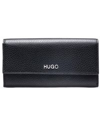 HUGO - Compact Wallet In Grainy Italian Leather With Metallic Lettering - Lyst