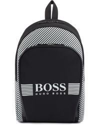 4811266990d BOSS - Zipped Backpack In Structured Nylon With Printed Stripes - Lyst