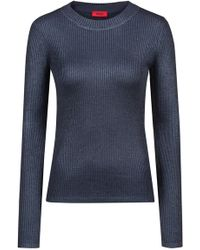 HUGO - Rib-knit Sweater With Faded Effects - Lyst