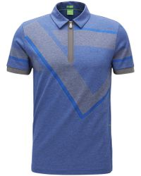 BOSS Green - Zip-neck Slim-fit Panelled Polo Shirt In Oxford Cotton - Lyst