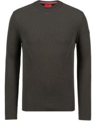 HUGO - Extra-slim-fit Virgin-wool Sweater With Military Detail - Lyst