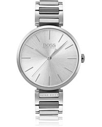 BOSS - Link-bracelet Watch In Brushed And Polished Steel - Lyst