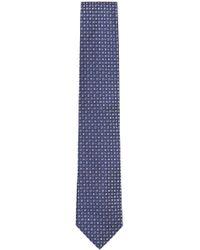 BOSS - Square Checked Italian Silk Tie - Lyst