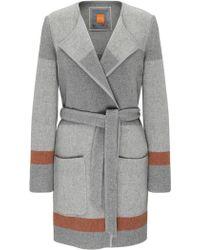 BOSS Orange - Striped Relaxed-fit Wrap Coat In Wool Blend: 'origa' - Lyst