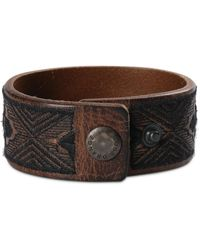 BOSS Orange - Wide Leather Bracelet With Embroidery: 'manton' - Lyst