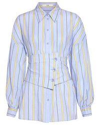 Tibi - Removable Corset Belt Striped Shirt - Lyst