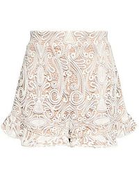 Alexis - Barron High-rise Lace Ruffle Shorts - Lyst
