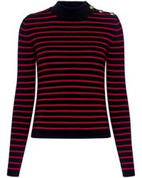 RED Valentino - Sheer Mesh Open-back Striped Sweater - Lyst