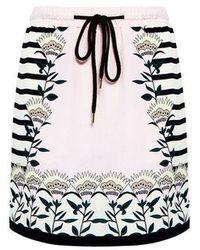 Markus Lupfer - Blooming Flower Stripe Silk Mini Skirt - Lyst