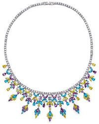 Fallon - Monarch Multi Stone Bib Necklace - Lyst