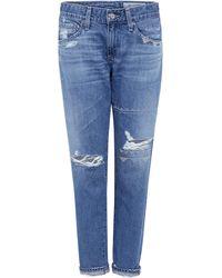 AG Jeans - Distressed Nikki Crop Skinny Jeans - Lyst