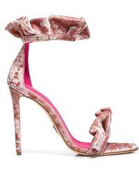 Oscar Tiye - Antoinette Ruffled Crushed-velvet Sandals - Lyst