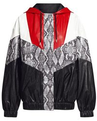 7cfb1209 MSGM - Snake Skin Patchwork Faux Leather Hoodie Jacket - Lyst