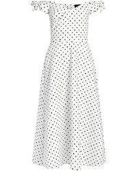 Saloni - Ruth Off-the-shoulder Polka Dots Midi Dress - Lyst