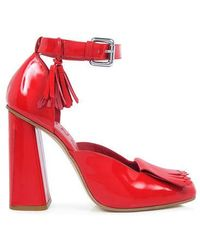 SUNO - Patent Ankle Strap High Heels - Lyst