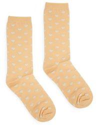 Ganni - Classon Hearts Metallic Ankle Socks - Lyst