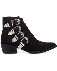 Toga Pulla - Calfskin Classic Suede Buckled Ankle Booties - Lyst