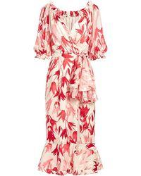 Saloni - Olivia V-neck Floral Ruffled Wrap Silk-blend Midi Dress - Lyst