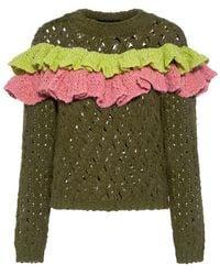 Boutique Moschino - Ruffle Layer Wool Open Knit Sweater - Lyst