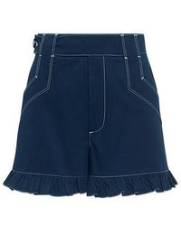 Ganni - Phillips High-rise Ruffle Shorts - Lyst
