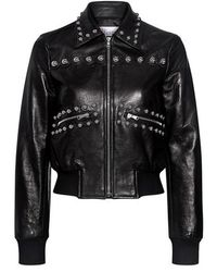 RED Valentino - Studded Leather Cropped Bomber Jacket - Lyst