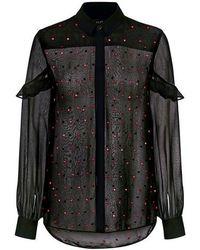 Saloni - Myra-b Polka Dots Ruffle Silk Sheer Blouse - Lyst