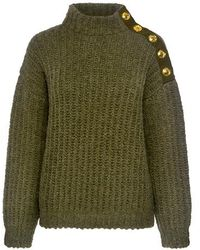 Boutique Moschino - Chunky High Neck Button Shoulder Sweater - Lyst