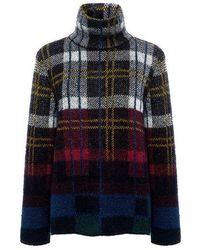 SUNO - Mohair Turtleneck Plaid Sweater - Lyst