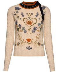 Red Sweater Bow Cable Valentino Floral Knit Printed Lyst Studded rz0grv