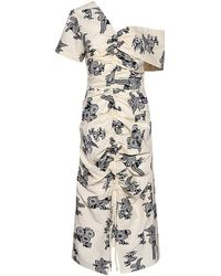 Sea - Josephine One Shoulder Ruched Floral Midi Dress - Lyst