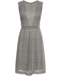 M Missoni - Metallic Zigzag Cut Out Back Knit Dress - Lyst